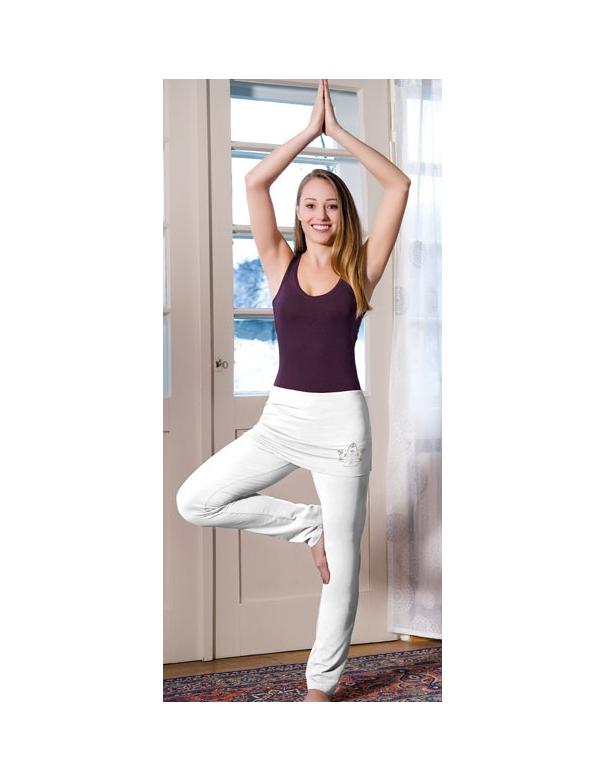 Pantalon de yoga blanc en coton bio long